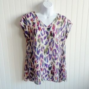 CAbi Plume  Feather Print Cap Sleeve Size S
